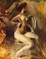 Джованни Больдини. Обнаженная девушка на стуле