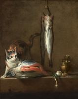 Жан Батист Симеон Шарден. Натюрморт с кошкой на столе и рыбой