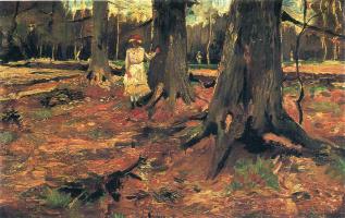 Девушка в белом среди деревьев
