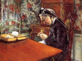 Гюстав Кайботт. Портрет мадам Буасье. Вязание