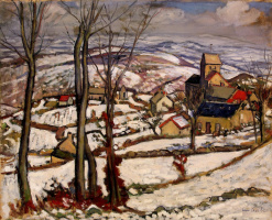 Луи Шарло. Деревня под снегом в Морване
