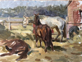 """""""Horses in the collective farm yard"""""""