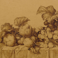 Johann Wilhelm Prairie. Still life with fruit, champagne and a tin dish. 1877 detail