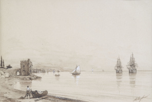 Ivan Aivazovsky. View of the Bay with lots of sailing ships (Feodosia)