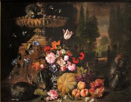 Де Конинк Дэвид. Животные, цветы и фрукты в саду у фонтана