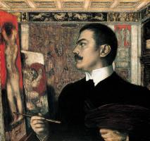 Franz von Pieces. Self portrait in the Studio in Munich