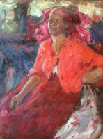 Abram Arkhipov. The woman in red