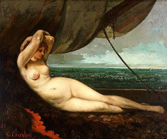Gustave Courbet. Nude reclining by the sea