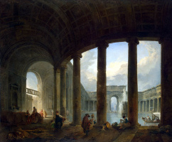 Hubert Robert. Pool surrounded by a colonnade