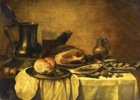 Peter Class. Still life with an open jug, ham, bread, herring and nuts