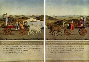 Пьеро делла Франческа. Герцог и герцогиня на триумфальных колесницах