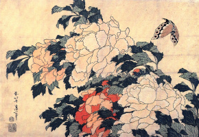 Кацусика Хокусай. Пионы и бабочка