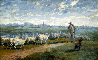 Charles Emile Jacques. Landscape with flock of sheep