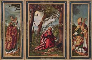 Ханс Бургкмайр Старший. Алтарь Иоанна, левая створка: св. Эразм, центральная часть: Иоанн Евангелист на острове Патмос, правая створка: св. Николай