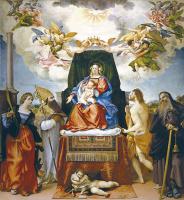 Лоренцо Лотто. Мадонна на троне со святыми Екатериной, Августином, Себастьяном, Антонием Аббатом и Иоанном Крестителем
