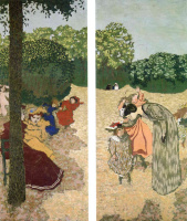 Jean Edouard Vuillard. A walk in the Park. Diptych