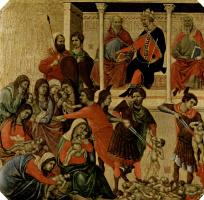 Дуччо ди Буонинсенья. Маэста, алтарь сиенского кафедрального собора, передняя сторона, пределла со сценами из детства Иисуса и пророками