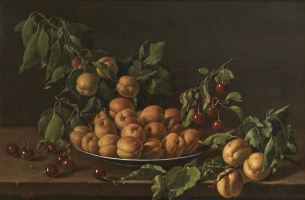 Luis Melendez. Still life with bowl of apricots and cherries