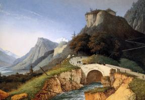 Йозефус Книп. Горный пейзаж с мостом через поток
