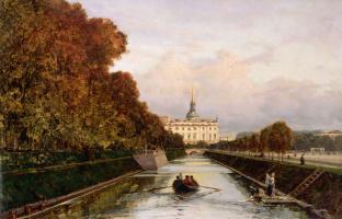 Вид на Михайловский замок в Петербурге с Лебяжьего канала