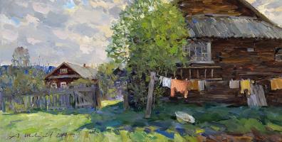 Александр Викторович Шевелёв. May in the village. D. V. P., oil 32 x 63, 5 cm 2014
