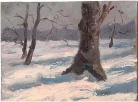 Аркадий Павлович Лаптев. Деревья в снегу