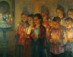 Николай Петрович Богданов-Бельский. В церкви