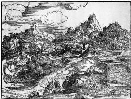 Доменико Кампаньола. Пейзаж с семейством путников