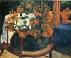 Paul Gauguin. Still life with sunflowers on an armchair