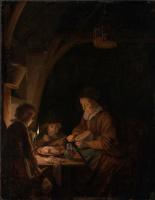 Геррит (Герард) Доу. Старуха, режущая хлеб