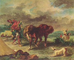 Eugene Delacroix. The Moroccan and his horse