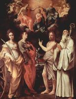 Гвидо Рени. Коронование Марии со св. Екатериной Александрийской, св. Иоанном Евангелистом, св. Иоанном Крестителем, св. Ромуальдом Камальдол