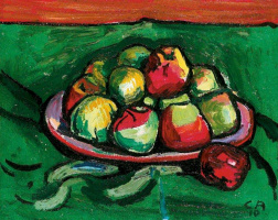 Still life with fruit. Apples on a plate