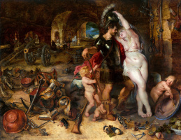 Jan Bruegel The Elder. Return from war - Mars is disarmed by Venus. (joint with P. P. Rubens) 1610-1612