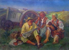 Абрам Маркович Черкасский. Обед в поле возле трактора
