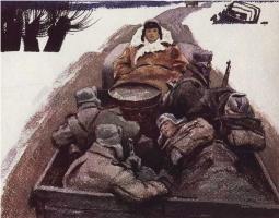 """Иллюстрация к поэме А. Твардовского """"Василий Тёркин"""". 1975"""