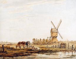 Абрахам ван Стрий. Пейзаж с мельницей и скотом