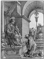 Альбрехт Альтдорфер. Священник, молящийся перед Мадонной