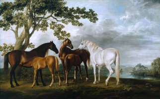 George Stubbs. Mares and foals in the river landscape