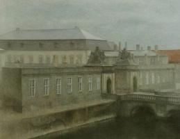 Вильгельм Хаммерсхёй. Вид на замок Кристиансборг, поздняя осень