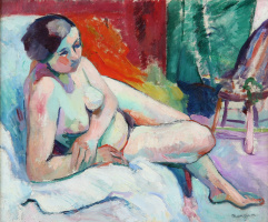 Henri Manguin. Reclining Nude in Studio