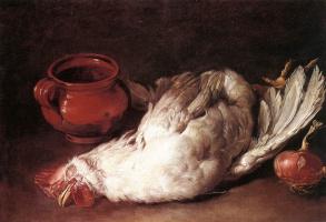 Джакомо Черути. Натюрморт с курицей и луком