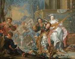 Иоганн Георг Платцер. Дворцовый сад с фигурами танцующих музыкантов