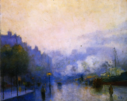 Lesser Ury. Rainy day in London , Thames Port