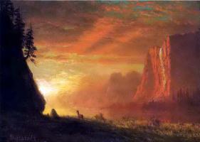 Олень на закате