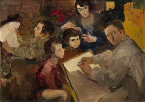 Philip Andreevich Malyavin. Self-portrait with family