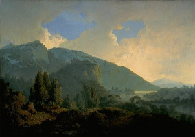 Joseph Wright. Italian landscape with mountains and river