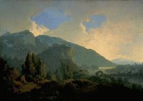Джозеф Райт. Итальянский пейзаж с горами и рекой