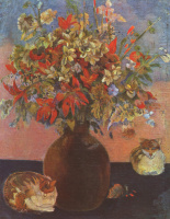 Paul Gauguin. Flowers and cats