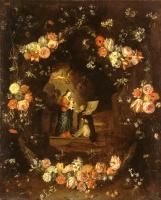 Мадонна с Младенцем и Святым Идельфонсом в гирлянде цветов